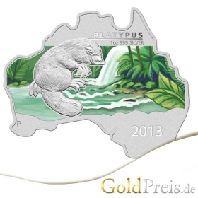 Australian Map Shaped Coin Series Salzwasserkrokodil 2014 PP Coloriert - 31,10 g - 1 oz Silber
