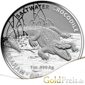 Australian Saltwater Crocodile (Royal Australian Mint) Graham 2014 PP Coloriert - 31,10 g - 1 oz Silber