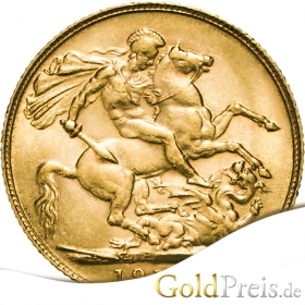 Sovereign - 3,66 g - 1/2 Pfund Gold