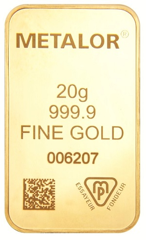 Goldbarren von Metalor mit DataMatrix Code